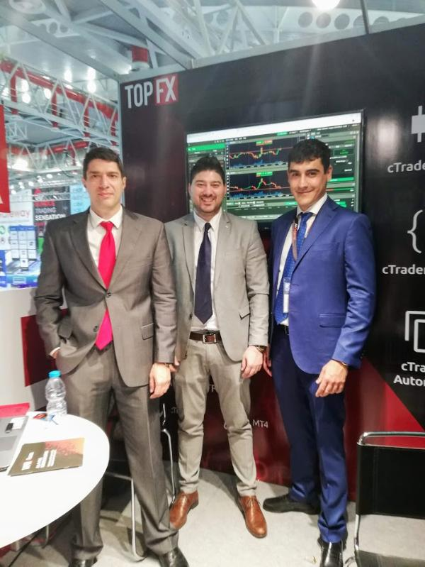 Alex Katsaros (CEO), Akis Katsaros (General Manager) and Costantino Zenonos (Head of Global Sales) at the iFX Expo